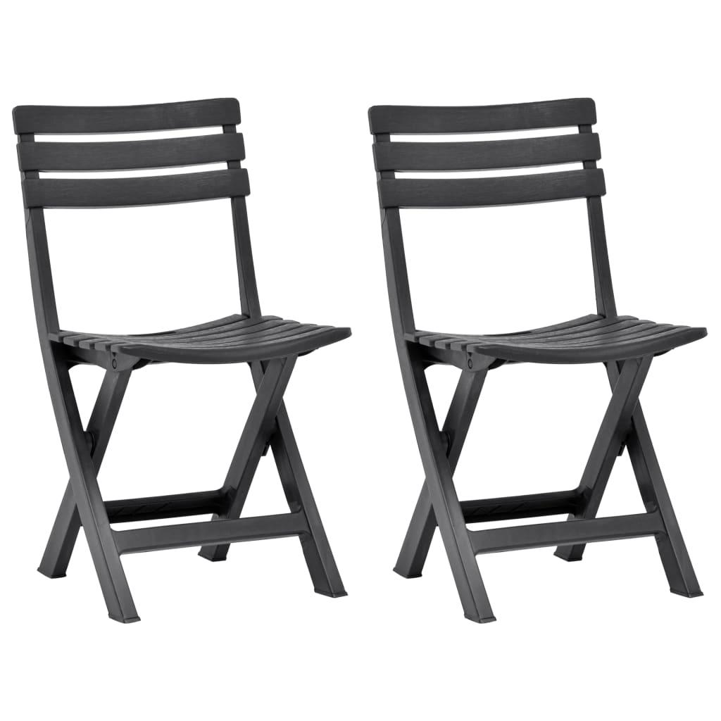 Skládací zahradní židle 2 ks plast antracitové