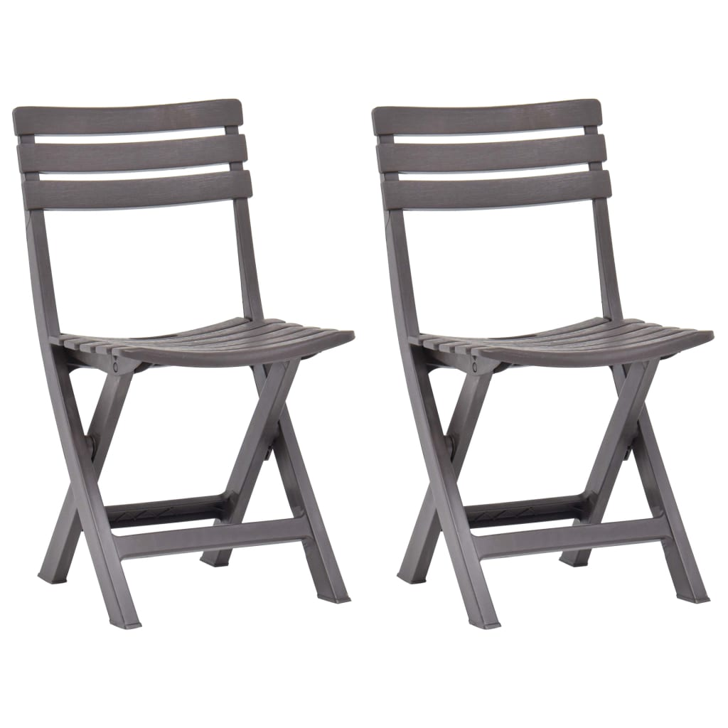 Skládací zahradní židle 2 ks plast mocha