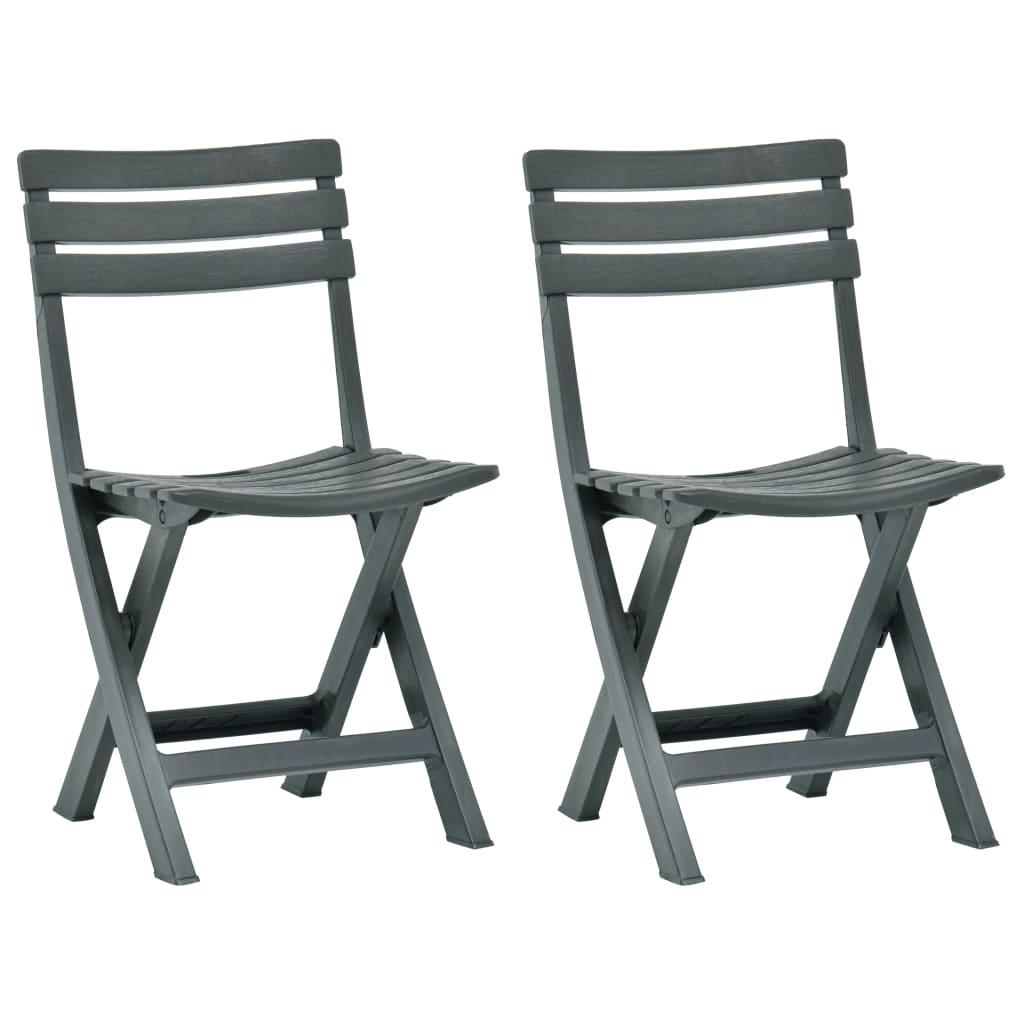 vidaXL Skládací zahradní židle 2 ks plast zelené