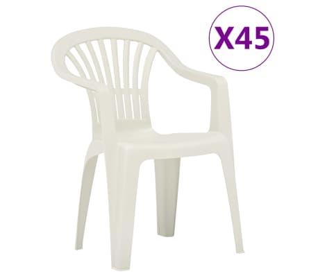 Sedie Da Giardino Bianche.Vidaxl Sedie Da Giardino Impilabili 45 Pz In Plastica Bianche