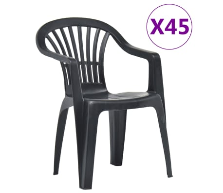 Sedie Da Esterno In Plastica.Vidaxl Sedie Da Giardino Impilabili 45 Pz In Plastica Antracite