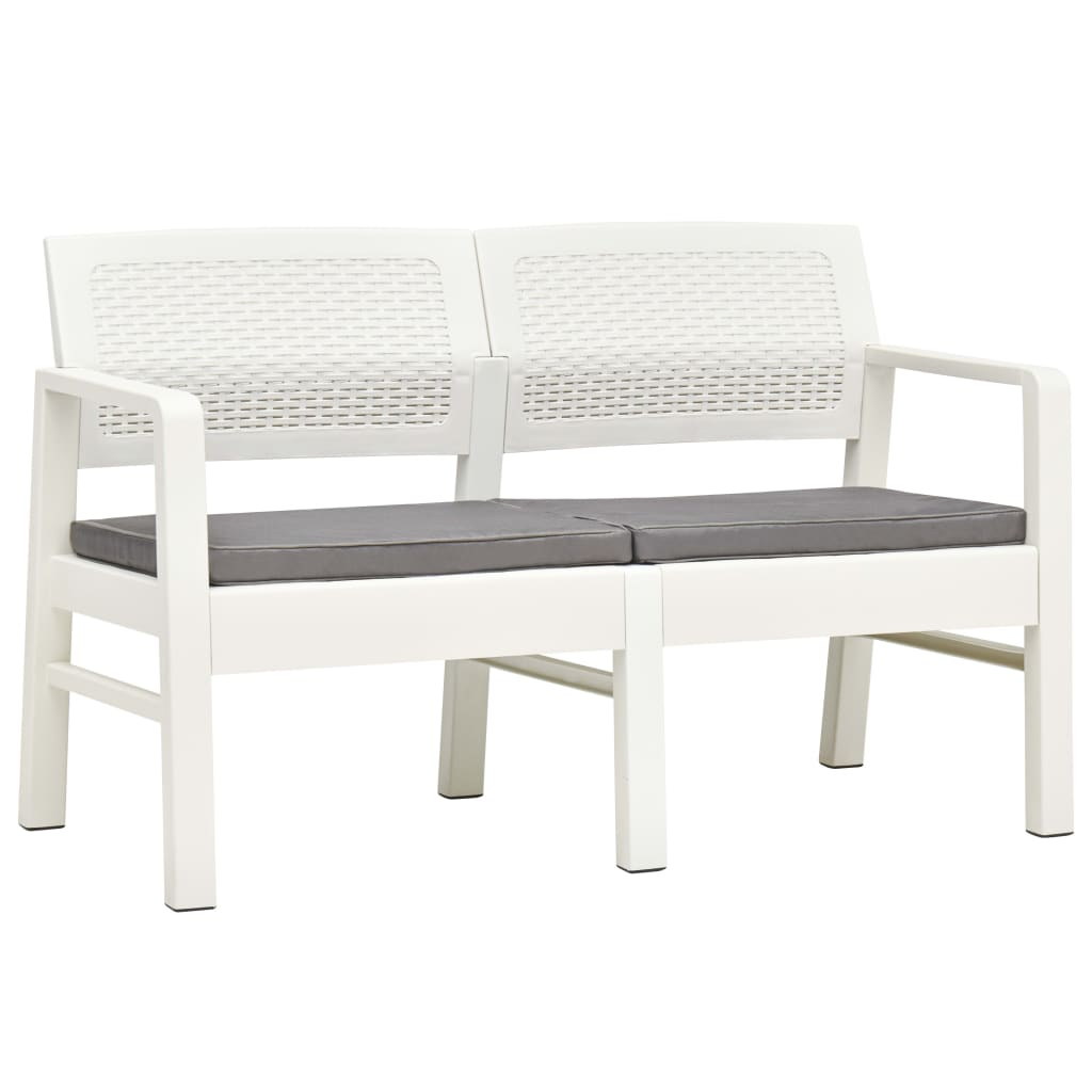 vidaXL 2-os. ławka ogrodowa z poduszkami, 120 cm, plastik, biała