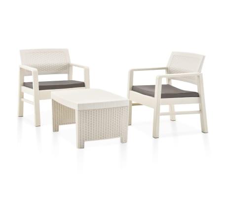 vidaXL 3-tlg. Garten-Lounge-Set Kunststoff Weiß