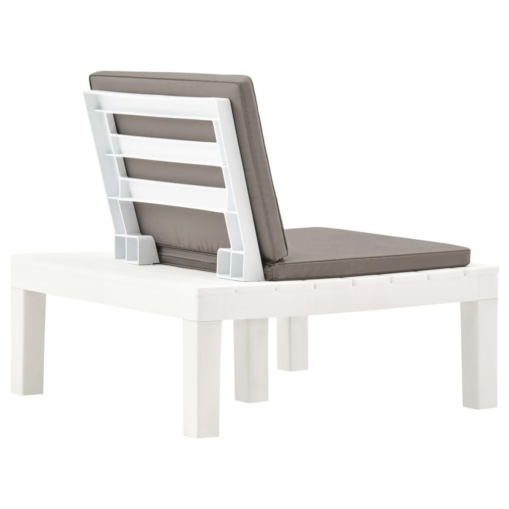 Chaise de salon de jardin avec coussin Plastique Blanc - Achat