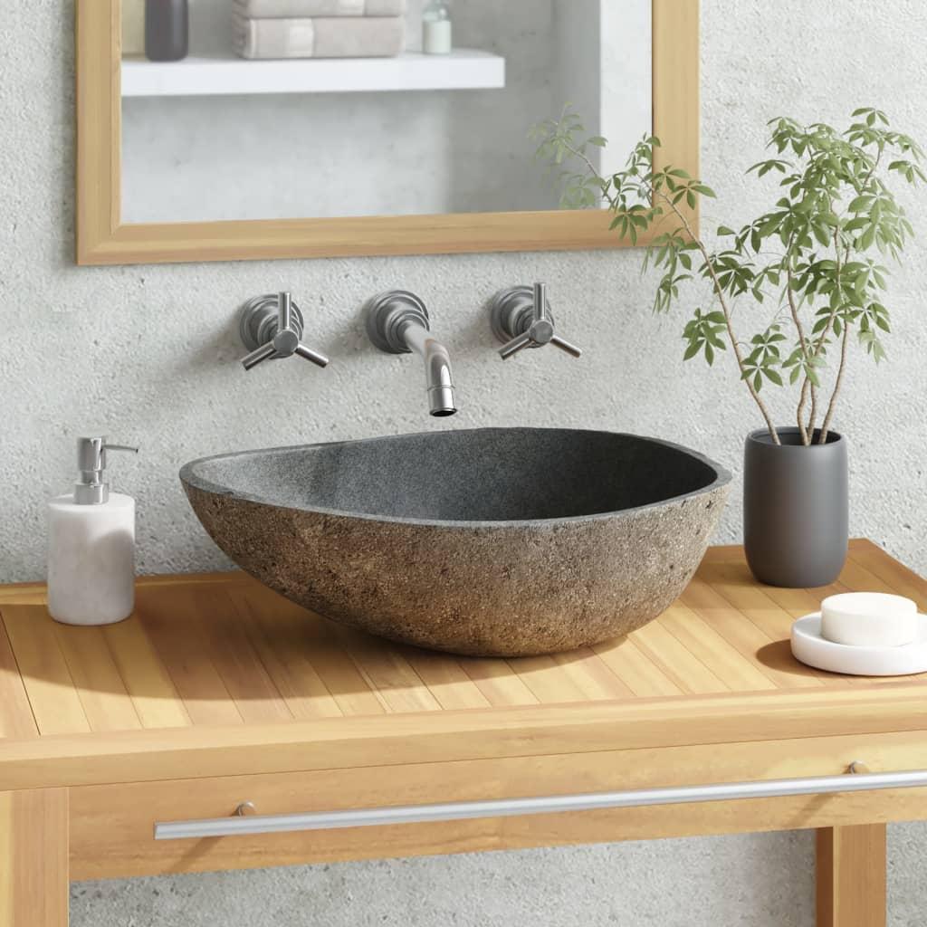 vidaXL Chiuvetă din piatră de râu, 38-45 cm, oval vidaxl.ro