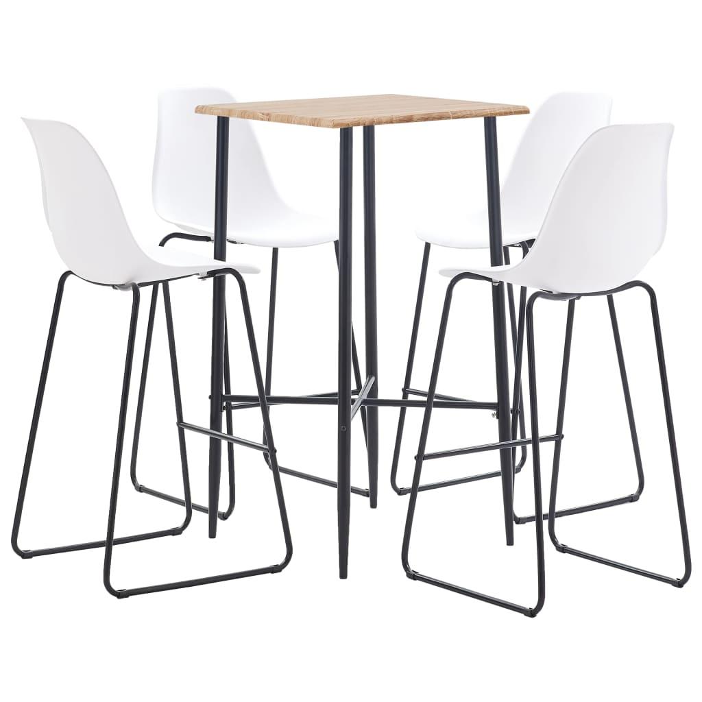 vidaXL Set mobilier de bar, 5 piese, alb, plastic vidaxl.ro