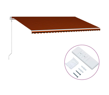 vidaXL Автоматично прибиращ се сенник, 600x300 см, оранжево и кафяво