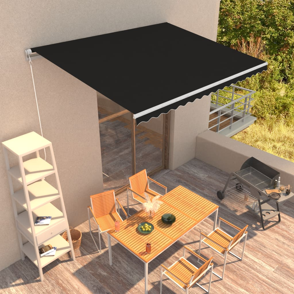 vidaXL Copertină retractabilă manual, antracit, 400 x 300 cm poza 2021 vidaXL