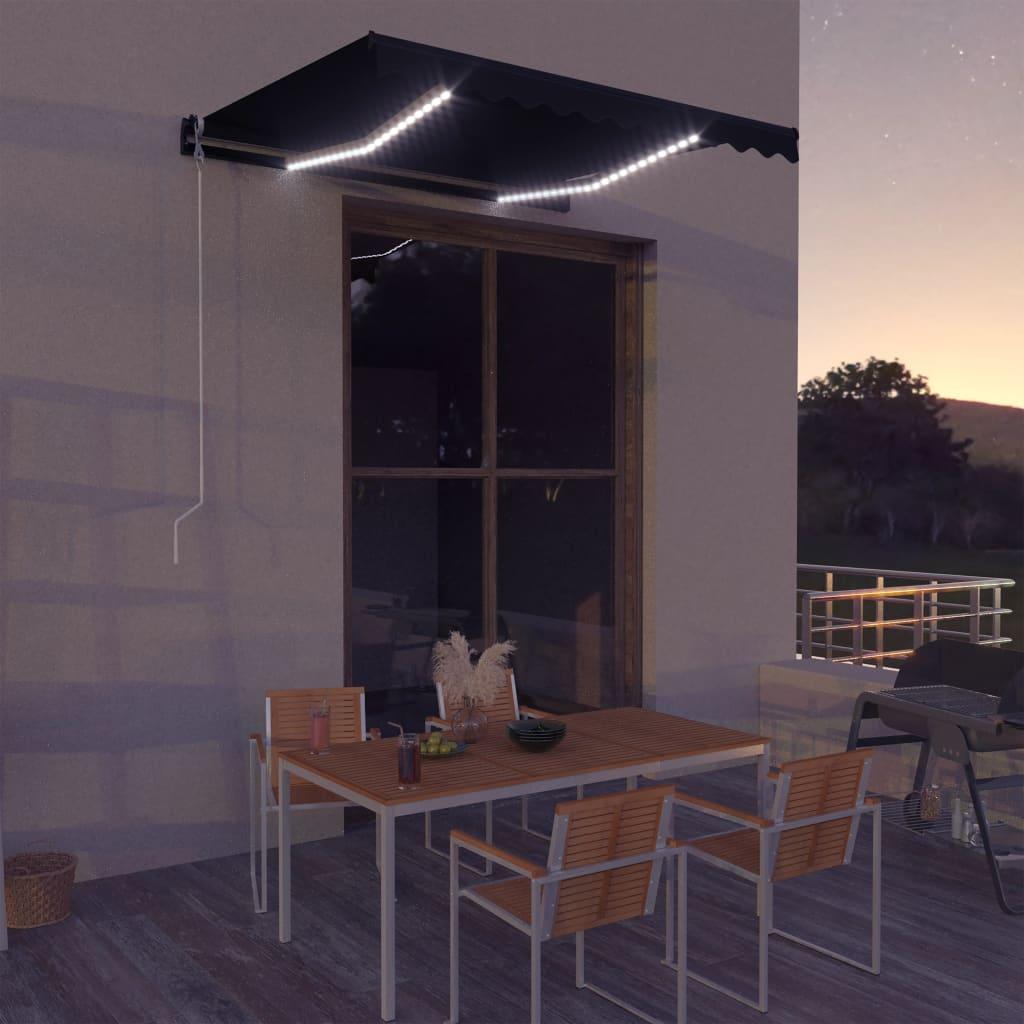 vidaXL Copertină retractabilă manual cu LED, antracit, 300 x 250 cm poza 2021 vidaXL