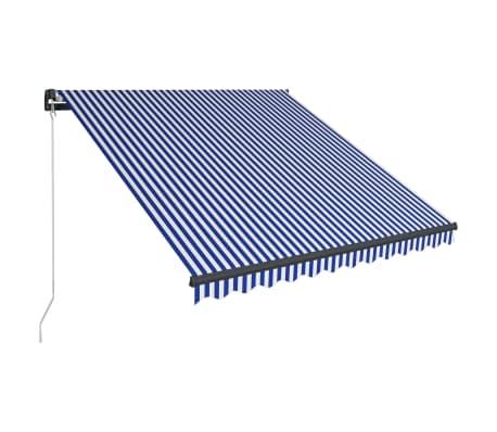 vidaXL Luifel handmatig uittrekbaar 300x250 cm blauw en wit