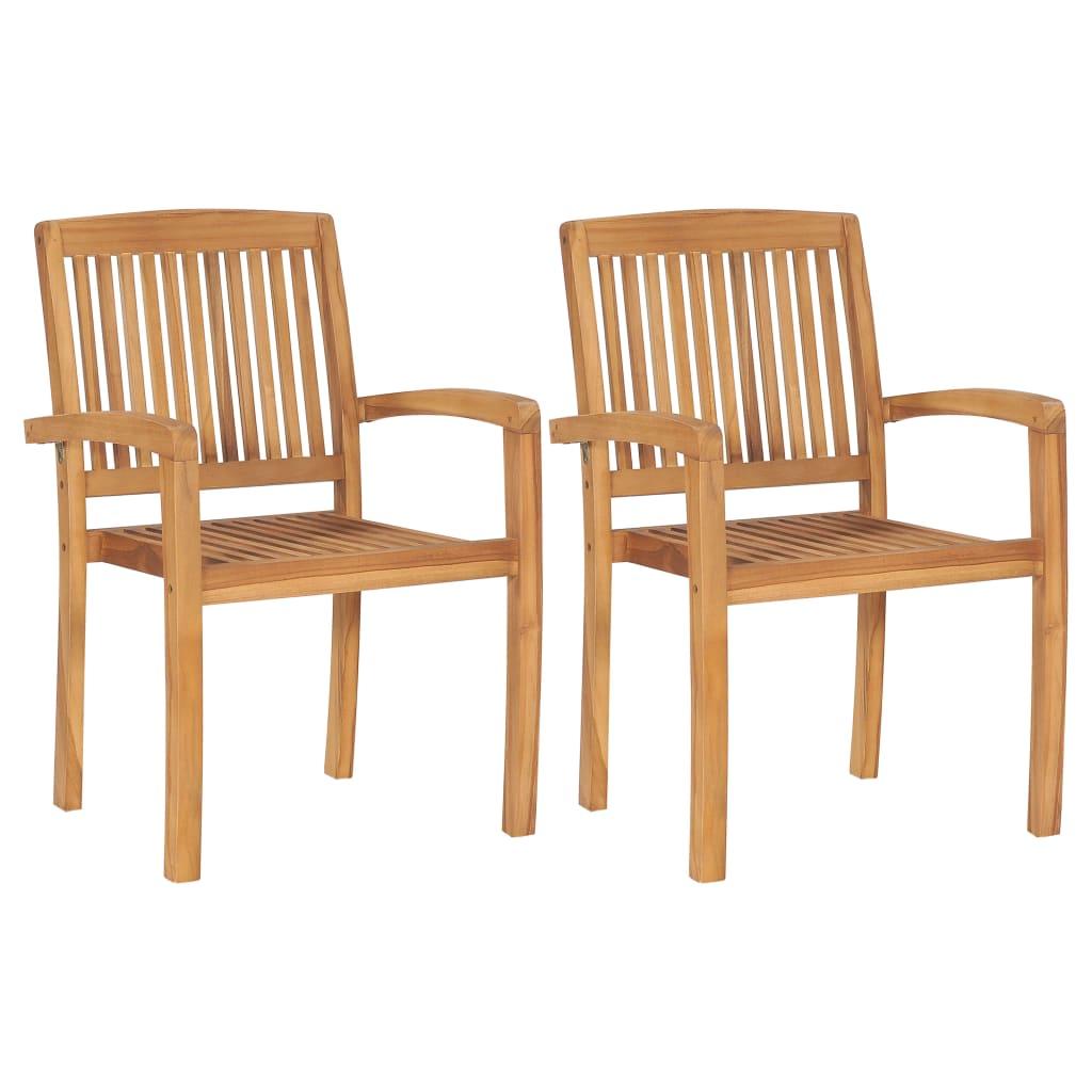 vidaXL Καρέκλες Τραπεζαρίας Κήπου Στοιβαζόμενες 2 τεμ. Μασίφ Ξύλο Teak