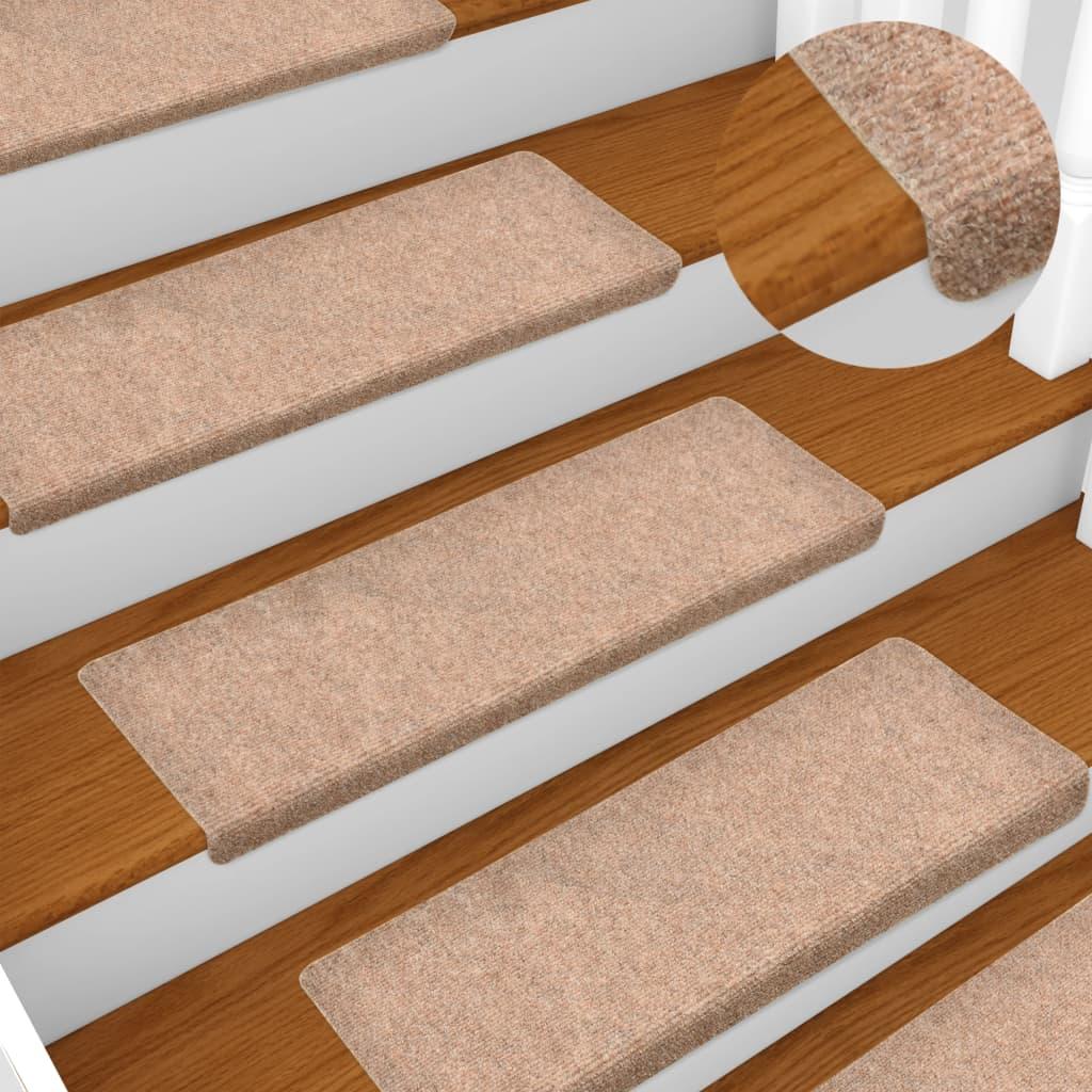Nášlapy na schody 15 ks vpichované 65 x 25 cm hnědé