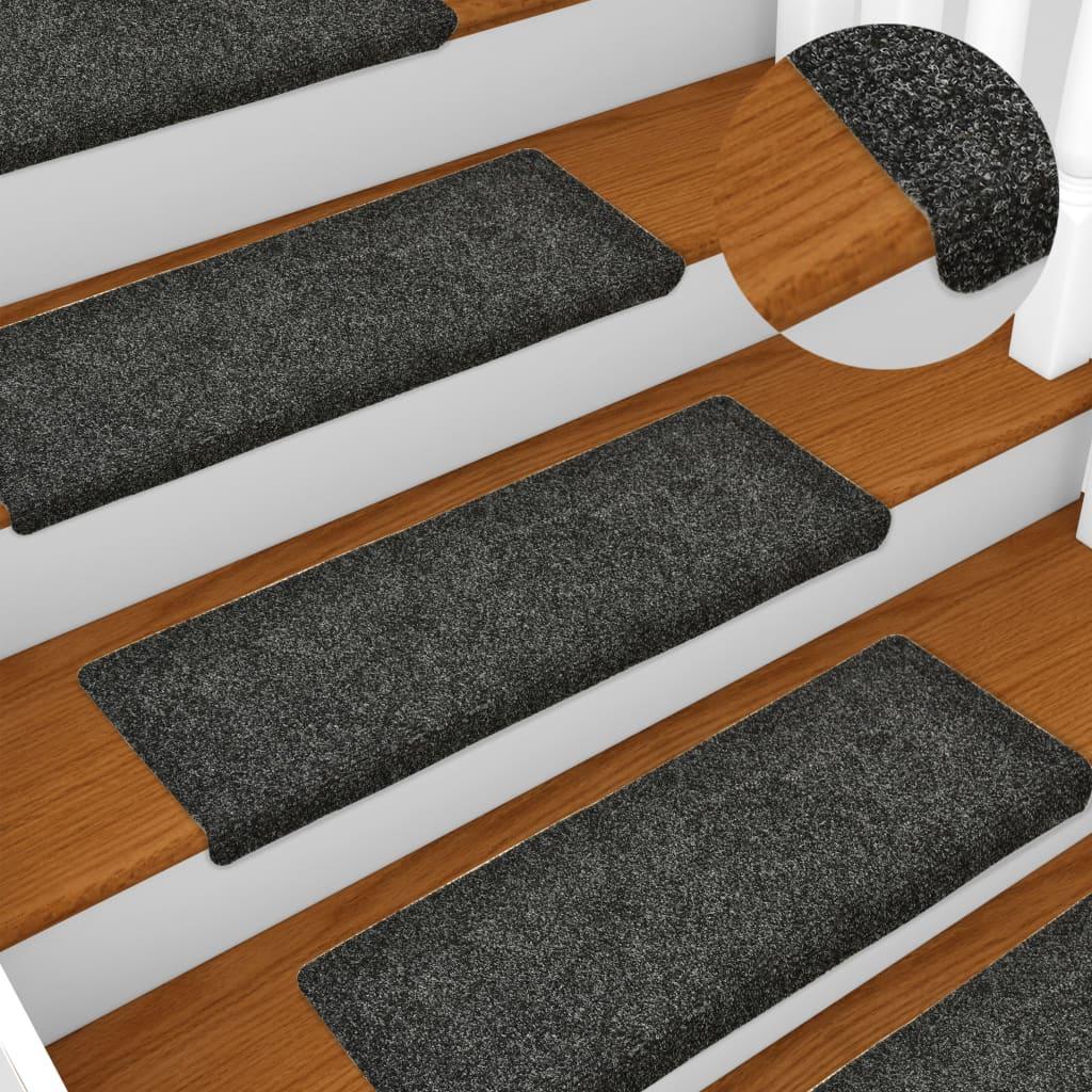 Nášlapy na schody 15 ks vpichované 65 x 25 cm šedé