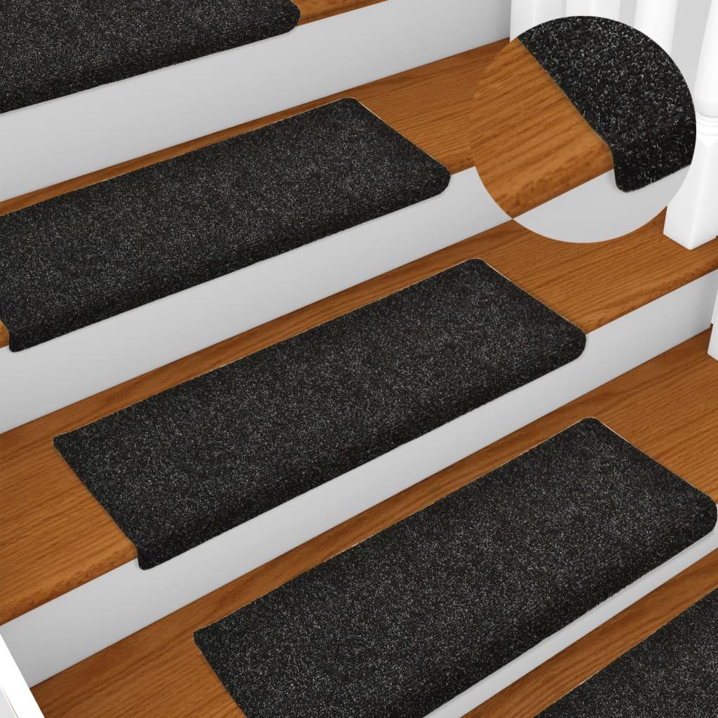 Nášlapy na schody 15 ks vpichované 65 x 25 cm černé
