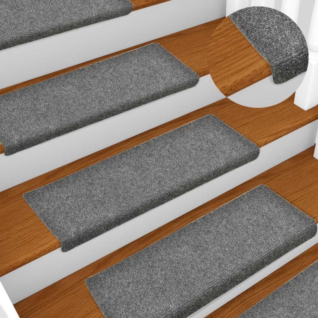 Nášlapy na schody 15 ks vpichované 65 x 25 cm světle šedé