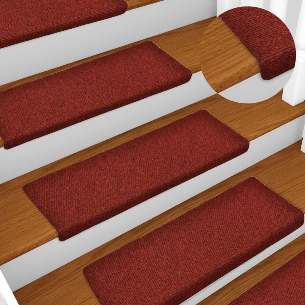 Nášlapy na schody 15 ks vpichované 65 x 25 cm červené