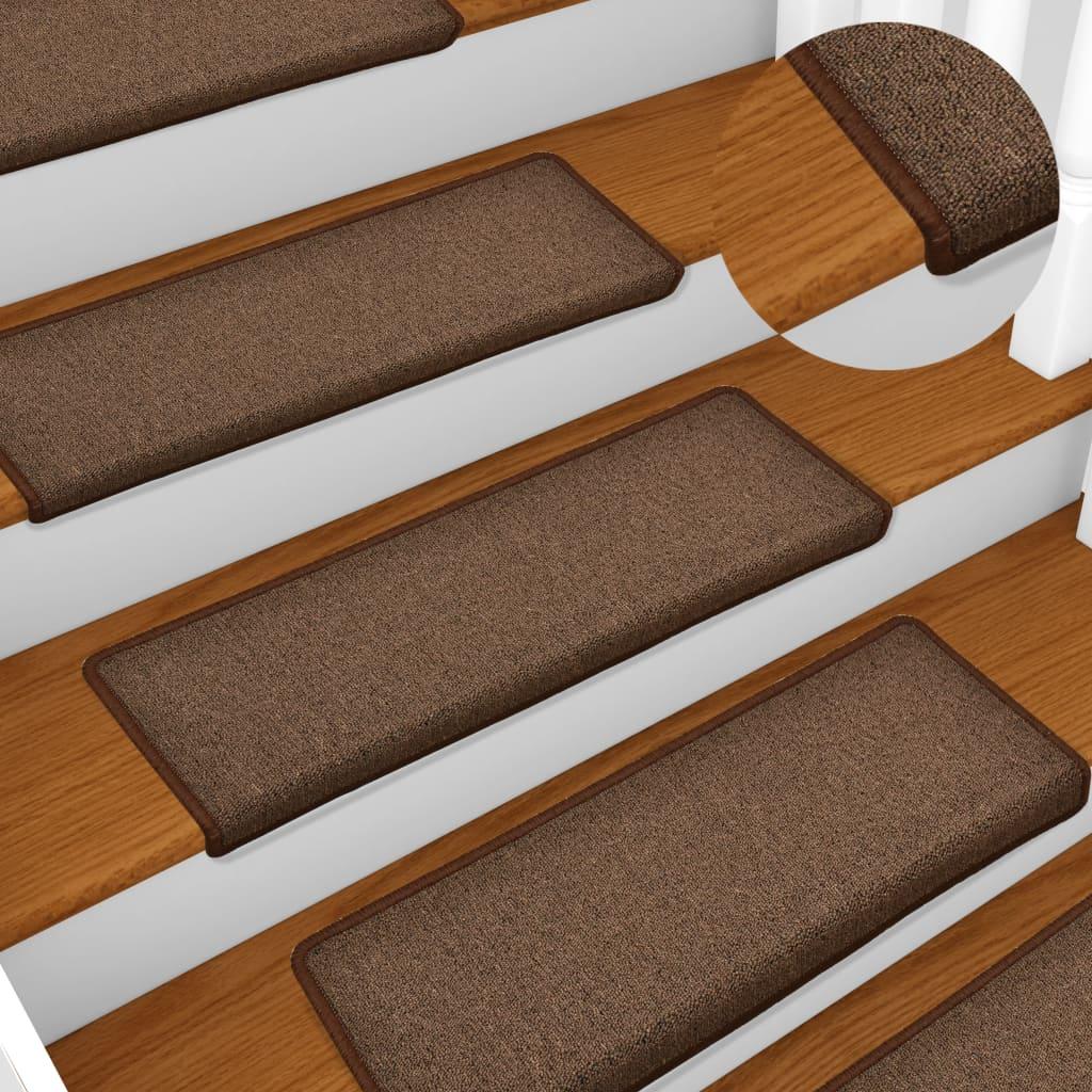 Kobercové nášlapy na schody 15 ks 65 x 25 cm hnědé