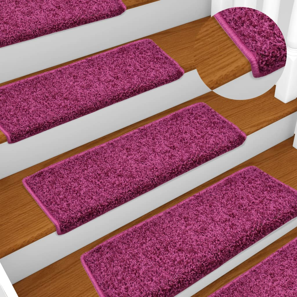 Kobercové nášlapy na schody 15 ks 65 x 25 cm fialové