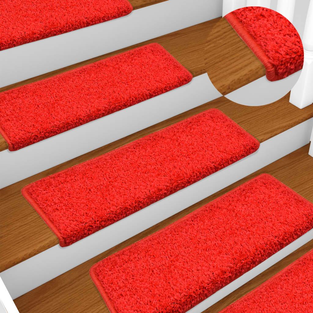 Kobercové nášlapy na schody 15 ks 65 x 25 cm červené