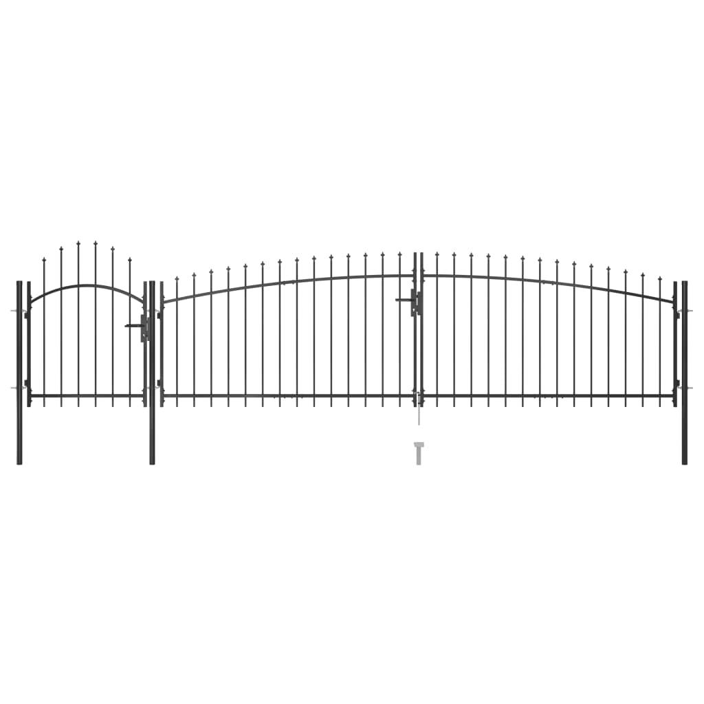 vidaXL Poartă gard pentru grădină cu vârf suliță, negru 5 x 1,5 m imagine vidaxl.ro