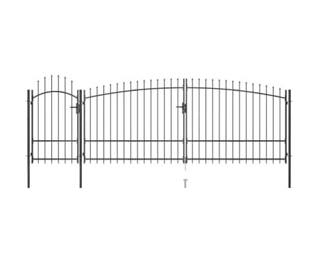 vidaXL Portail de clôture de jardin avec dessus en lance 5x2,25 m Noir