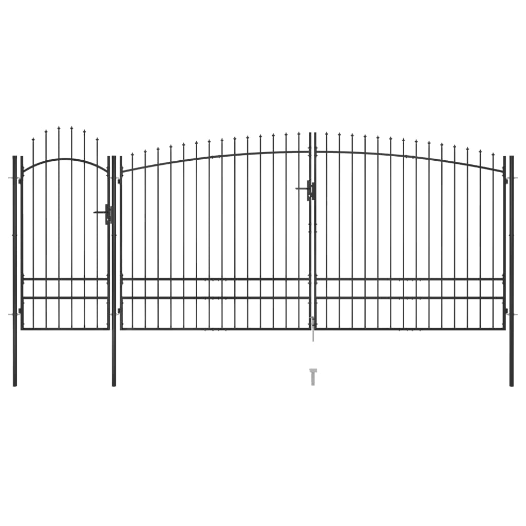 vidaXL Poartă gard pentru grădină cu vârf suliță, negru 5 x 2,45 m poza 2021 vidaXL
