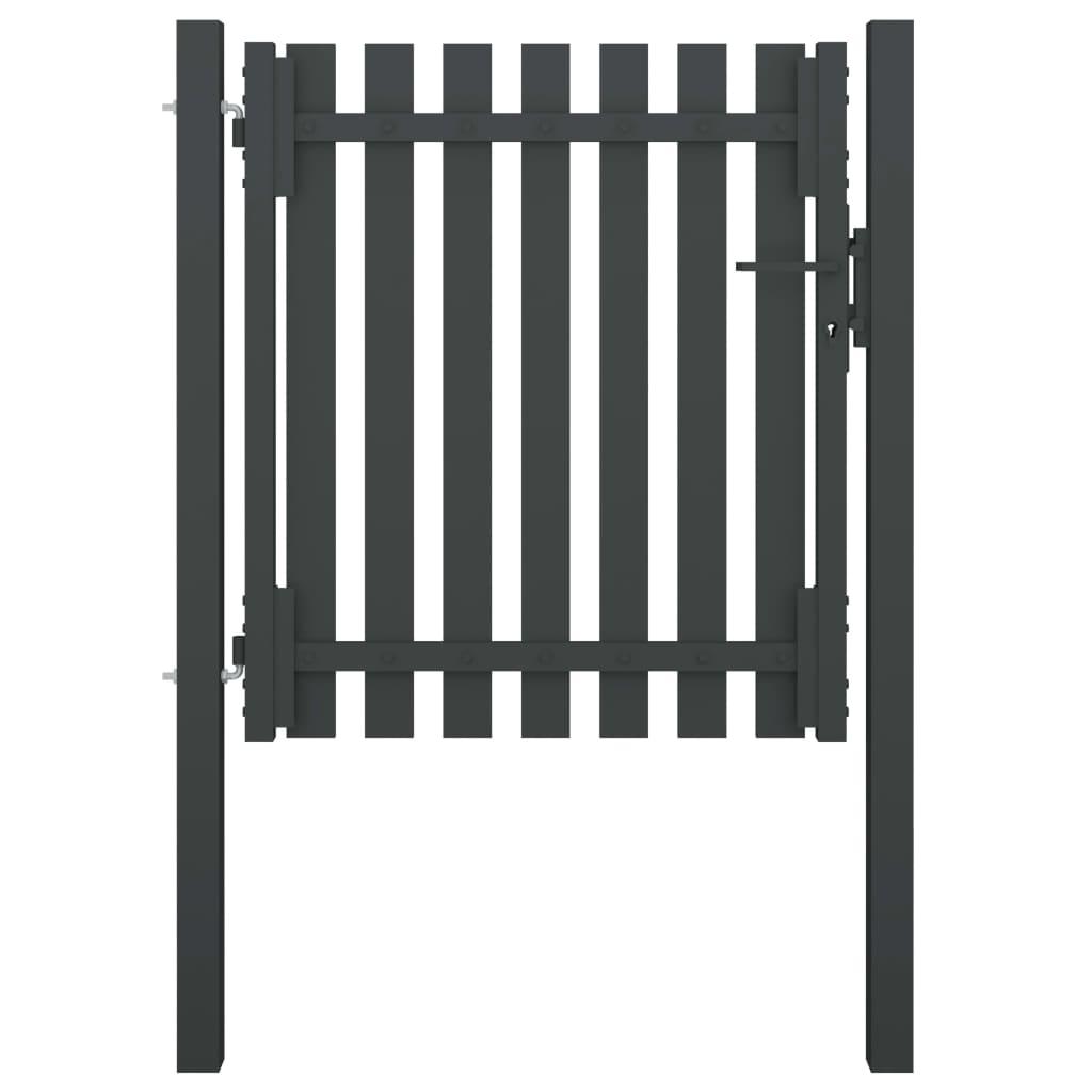 vidaXL Poartă de gard grădină, antracit, 1 x 1,25 m, oțel poza vidaxl.ro
