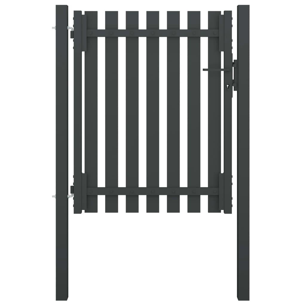 vidaXL Poartă de gard grădină, antracit, 1 x 1,5 m, oțel imagine vidaxl.ro