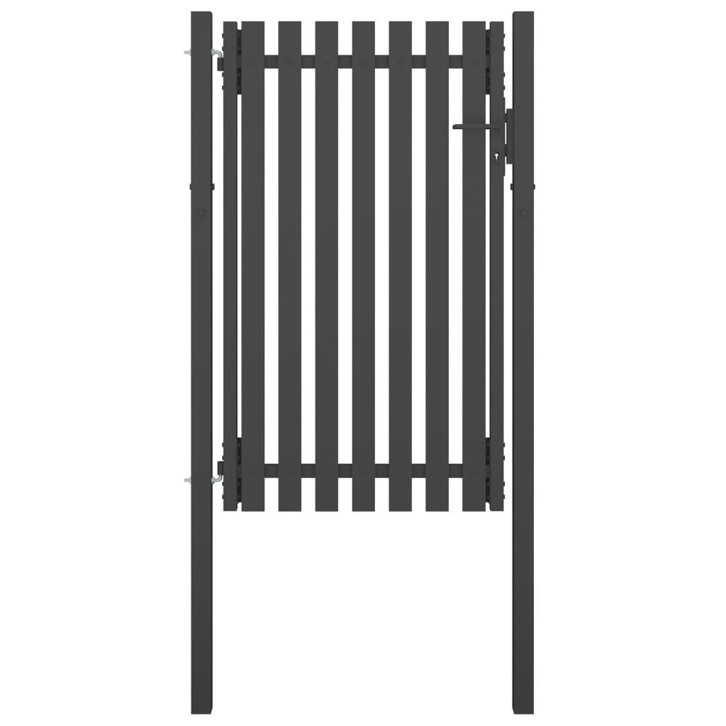 vidaXL Poartă de gard grădină, antracit, 1 x 2 m, oțel poza 2021 vidaXL