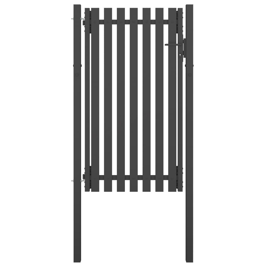 vidaXL Poartă de gard grădină, antracit, 1 x 2,25 m, oțel vidaxl.ro