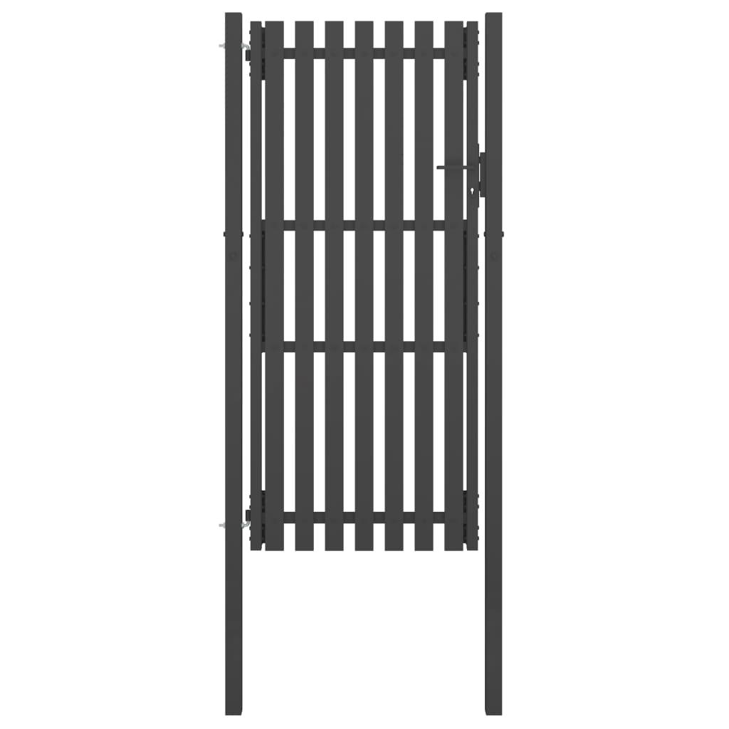 vidaXL Poartă de gard grădină, antracit, 1 x 2,5 m, oțel poza vidaxl.ro