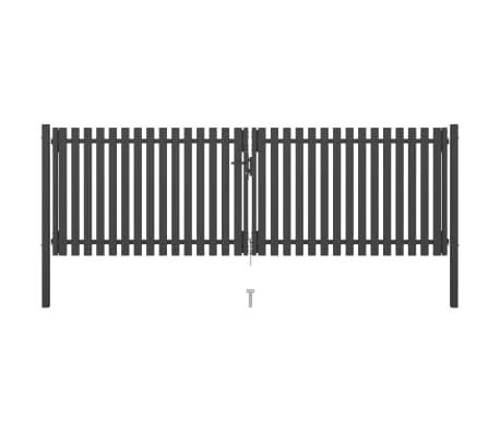 vidaXL Portail de clôture de jardin Acier 4x1,5 m Anthracite