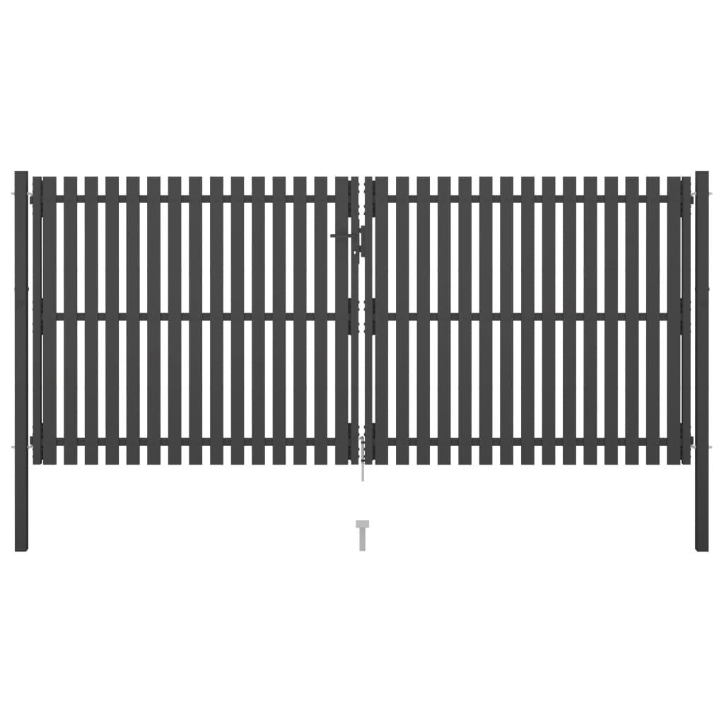 vidaXL Poartă de gard grădină, antracit, 4 x 2 m, oțel poza vidaxl.ro