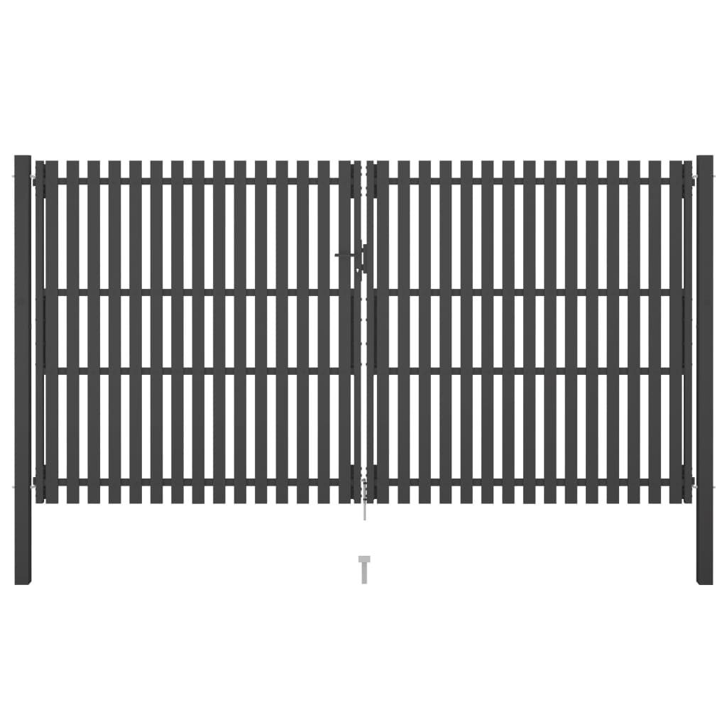vidaXL Poartă de gard grădină, antracit, 4 x 2,5 m, oțel poza 2021 vidaXL
