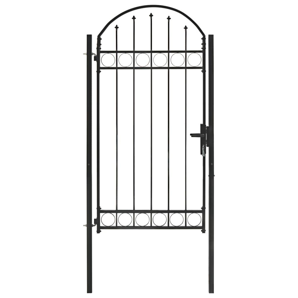 vidaXL Poartă de gard cu arcadă, negru, 100 x 250 cm, oțel imagine vidaxl.ro