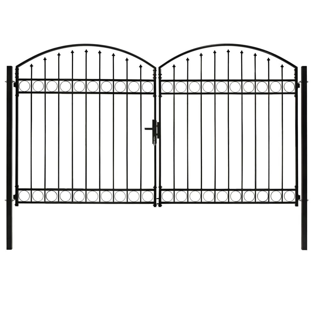 vidaXL Poartă de gard dublă cu vârf în arcadă, negru, 300x200 cm, oțel vidaxl.ro