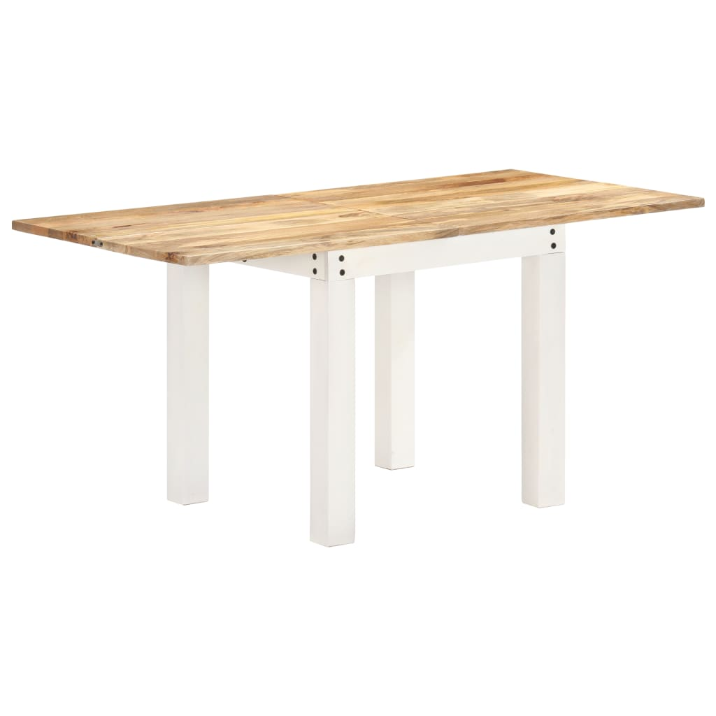 vidaXL Masă extensibilă, alb, 82x(80-160)x76 cm, lemn masiv mango vidaxl.ro