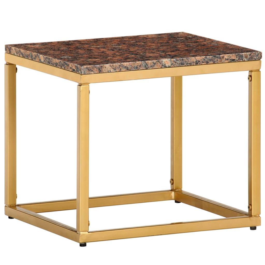 vidaXL Salontafel 40x40x35 cm echt steen met marmeren textuur bruin