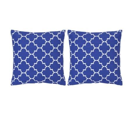 vidaXL Coussins imprimés 2 pcs Bleu 40x40 cm Coton
