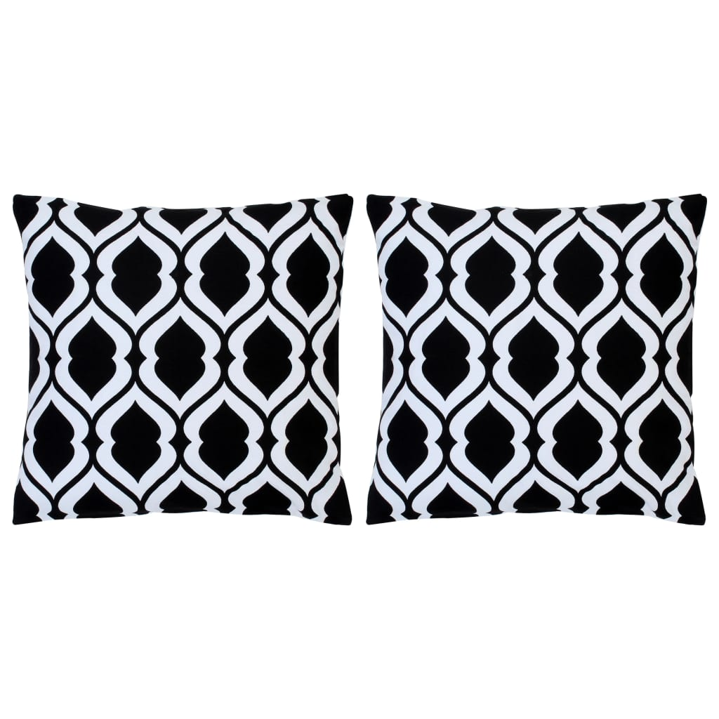 vidaXL Polštáře s potiskem 2 ks černobílé 40 x 40 cm bavlna