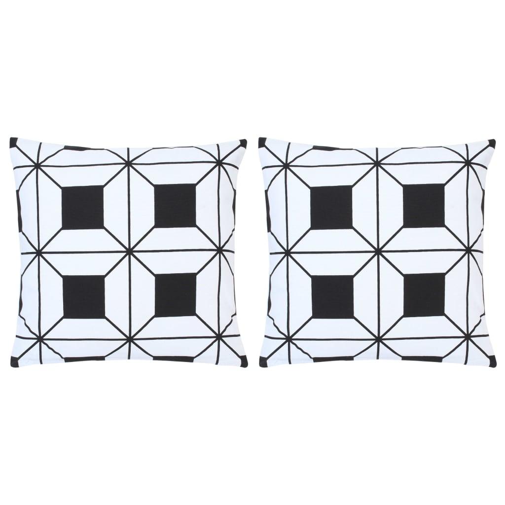 vidaXL Perne, 2 buc., model imprimat, negru și alb, 40 x 40 cm, bumbac poza 2021 vidaXL