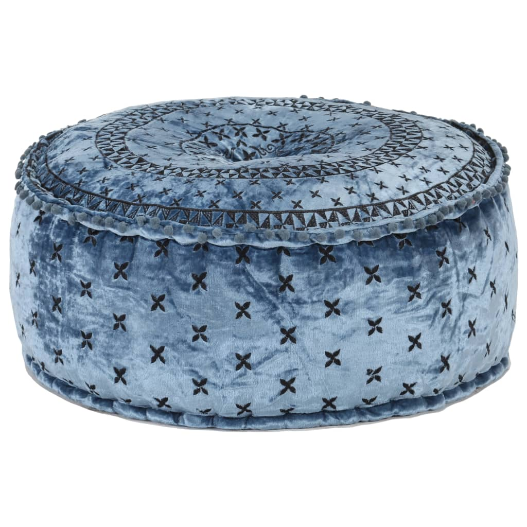 vidaXL Taburet puf, albastru, 60 x 25 cm, catifea brodată, rotund imagine vidaxl.ro