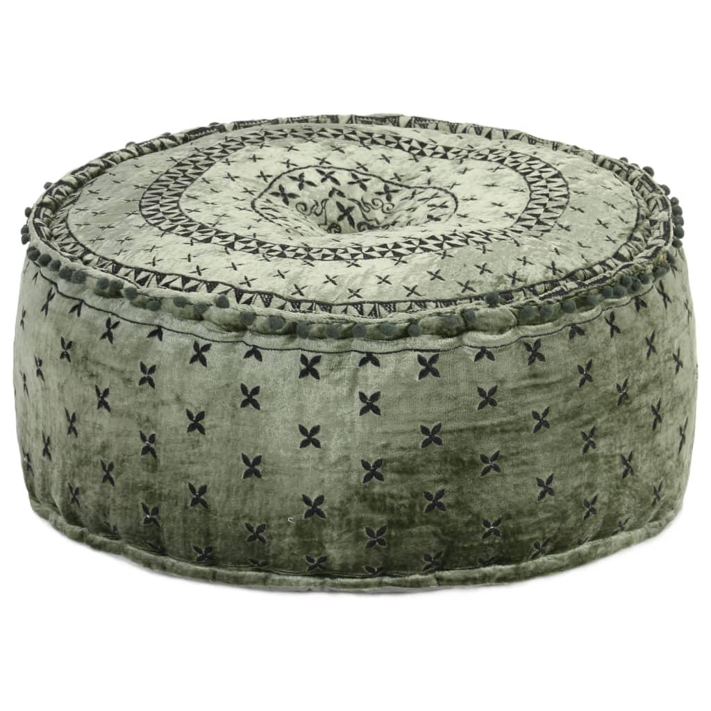 Setzen Sie sich auf den Sitzpouff oder stellen Sie Ihre Füße darauf und entspannen Sie sich! Dieser runde Pouff aus Samt und mit schwarzer Stickerei ist sowohl praktisch als auch eine dekorative Ergänzung zu Ihrer Wohnkultur.