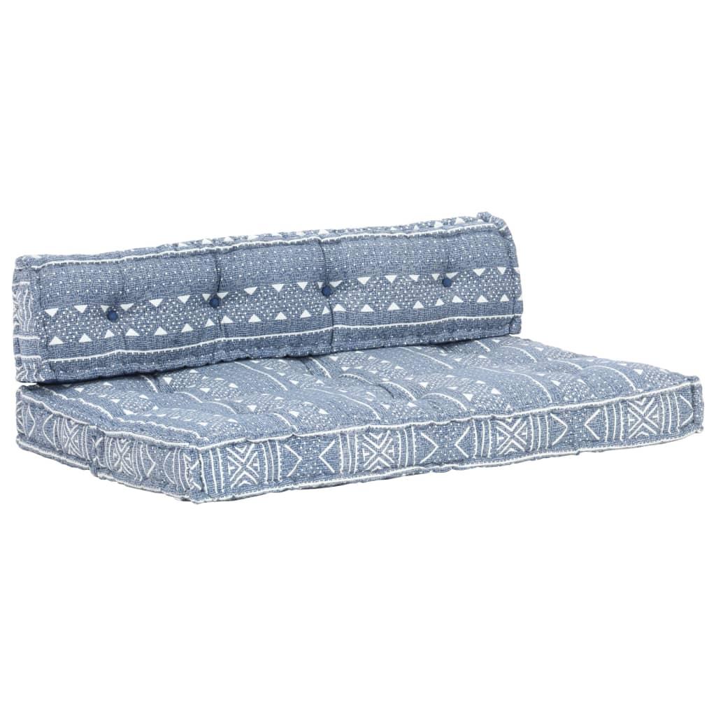 vidaXL Pernă pentru canapea din paleți, indigo, textil, petice poza vidaxl.ro