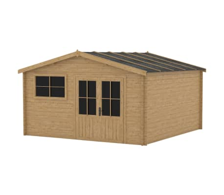 vidaXL Blokhut met raam 28 mm 400x400 cm hout