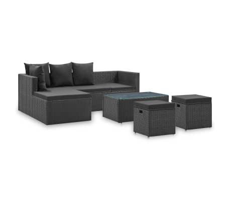 vidaXL 4 Piece Garden Lounge Set Black with Cushions Poly Rattan