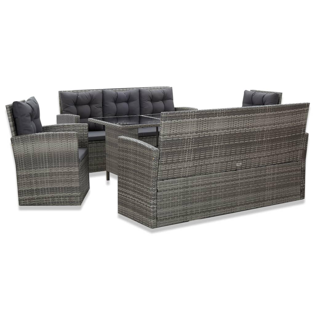 vidaXL Set mobilier de exterior cu perne, 5 piese, gri, poliratan poza 2021 vidaXL