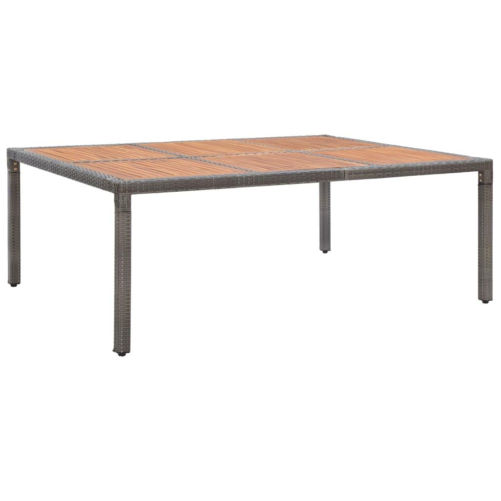 vidaXL Masă de grădină, gri, 200x150x74 cm, poliratan și lemn acacia vidaxl.ro