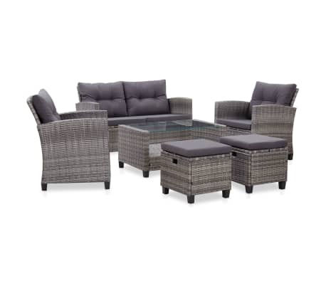 vidaXL 6 Piece Garden Sofa Set with Cushions Poly Rattan Dark Grey