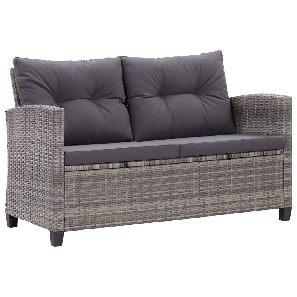9946154 2-Sitzer-Gartensofa mit Kissen Grau 124 cm Poly Rattan